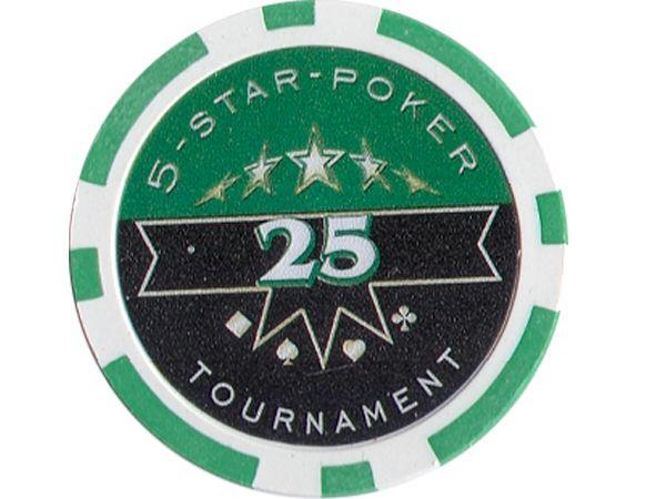 5-Star-Poker Chip 25 Grün