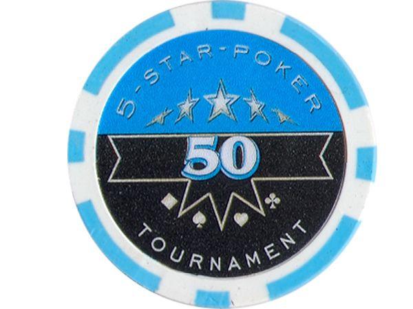 5-Star-Poker Chip 50 Hellblau