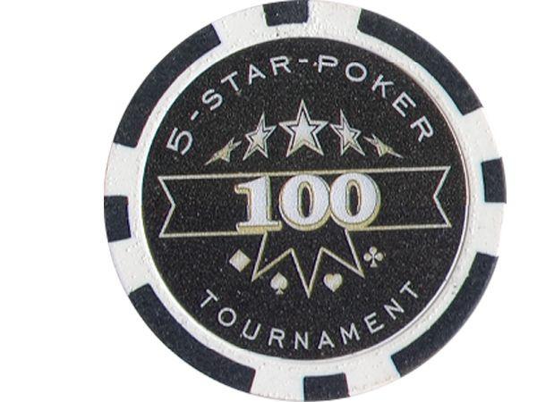 5-Star-Poker Chip 100 Schwarz