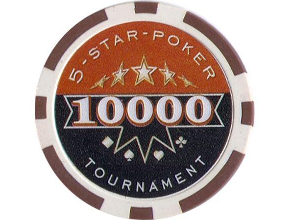 5-Star-Poker Chip 10000 Braun