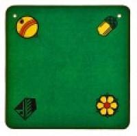 Jassteppich grün mit deutschen Kartensymbolen