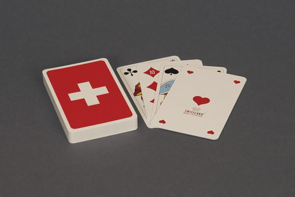 Jasskarten Schweizerkreuz mit franz. Kartensymbolen