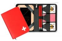 Kunstleder Etui rot mit CH-Kreuz