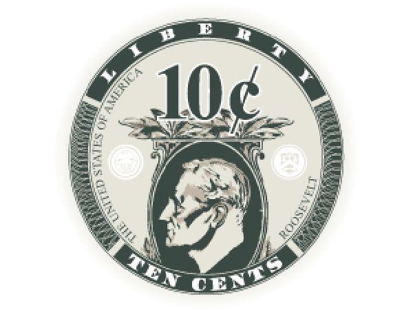 Liberty Ceramic Chip 10 Cent weiss 10,5g