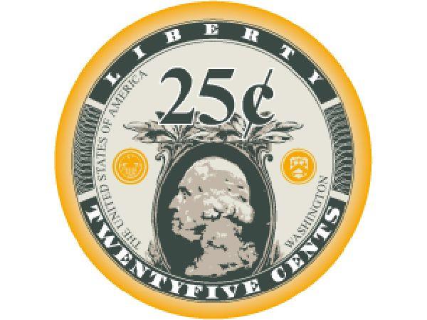 Liberty Ceramic Chip 25 Cent Orange 10gr.