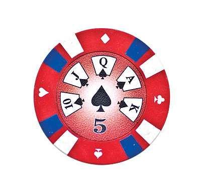 5 Cards Clay Pokerchip 13,5g 5er rot