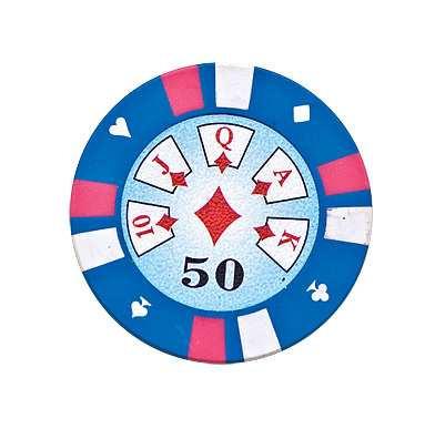 5 Cards Clay Pokerchip 13,5g 50er hellblau