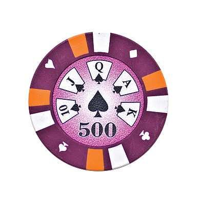 5 Cards Clay Pokerchip 13,5g 500er violett