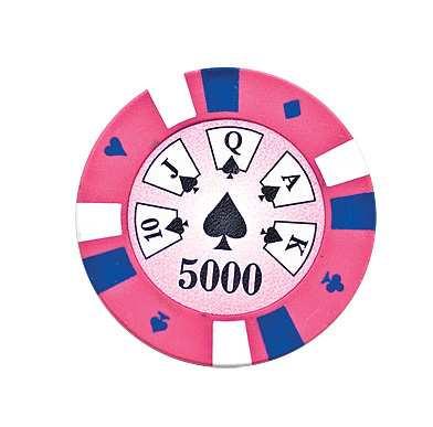 5 Cards Clay Pokerchip 13,5g 5000er pink