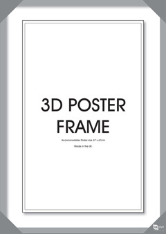 Holz-Bilderrahmen Silber für 3D-Lentikular-Poster 47x67 cm