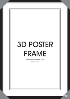 Holz-Bilderrahmen Schwarz für 3D-Lentikular-Poster 47x67 cm