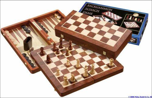 Schach-Backgammon Dame Set Buche/Mahagoni