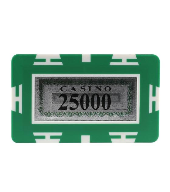 Plaque Jeton 75 x 45mm Casino 25000er grün