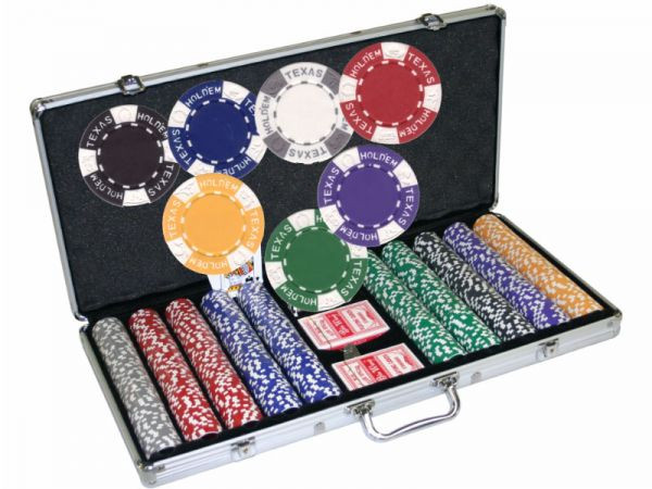 Chipkoffer mit 500 Texas Holdem Chips