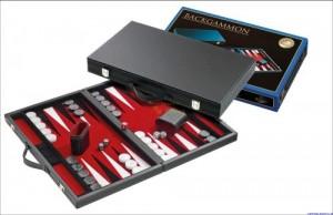 Backgammon medium rot Kunstleder